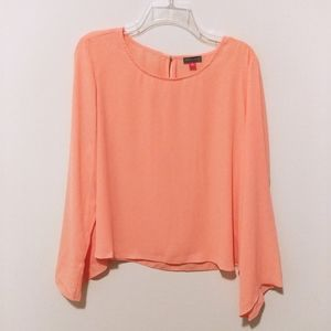 Vince Camuto coral bell sleeve blouse (M)